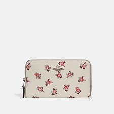 Image of Coach Australia SV/CHALK FLORAL BLOOM MEDIUM ZIP AROUND WALLET WITH FLORAL BLOOM PRINT