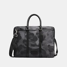 Image of Coach Australia QB/CHARCOAL METROPOLITAN SLIM BRIEF WITH WILD BEAST PRINT