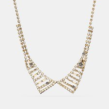 Image of Coach Australia SILVER SMALL CRYSTAL COLLAR NECKLACE