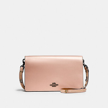 Image of Coach Australia  FOLDOVER CHAIN CLUTCH WITH TEA ROSE