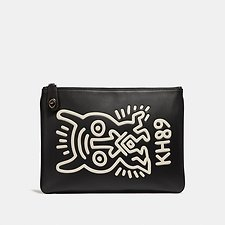 Image of Coach Australia MONSTER BLACK COACH X KEITH HARING TURNLOCK POUCH