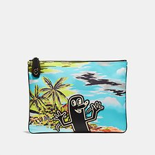 Image of Coach Australia HAWAIIAN BLUE SAUSAGE MAN COACH X KEITH HARING POUCH