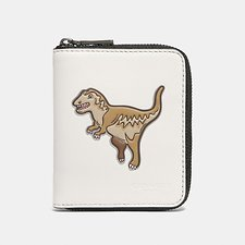Image of Coach Australia REXY CHALK SMALL ZIP AROUND WALLET WITH MASCOT