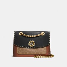Image of Coach Australia BLACK MULTI/BRASS PARKER WITH BORDER RIVETS AND SNAKESKIN DETAILS