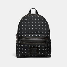 Image of Coach Australia MW/BLACK/CHALK ACADEMY BACKPACK WITH DOT DIAMOND PRINT