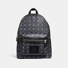 Image of Coach Australia LH/CHARCOAL ACADEMY BACKPACK IN SIGNATURE CANVAS WITH DOT DIAMOND PRINT