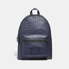 Image of Coach Australia QB/MIDNIGHT NAVY ACADEMY BACKPACK IN SIGNATURE LEATHER