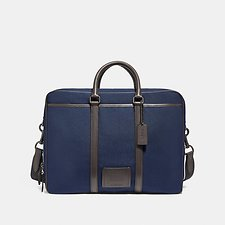 Image of Coach Australia QB/BRIGHT NAVY/CHESTNUT METROPOLITAN DOUBLE ZIP BUSINESS CASE
