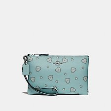 Image of Coach Australia SV/LIGHT TURQ WESTERN HEART SMALL WRISTLET WITH WESTERN HEART PRINT