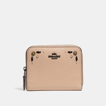 Image of Coach Australia  SMALL ZIP AROUND WALLET WITH PRAIRIE RIVETS
