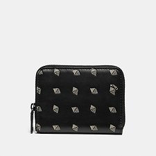 Image of Coach Australia BLACK/CHALK SMALL ZIP AROUND WALLET WITH DOT DIAMOND PRINT