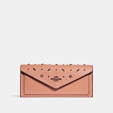 Image of Coach Australia DK/DARK BLUSH SOFT WALLET WITH PRAIRIE RIVETS