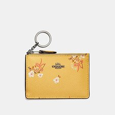 Image of Coach Australia DK/SUNFLOWER FLORAL BOW MINI SKINNY ID CASE WITH FLORAL BOW PRINT
