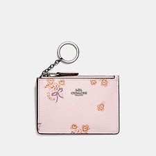 Image of Coach Australia SV/ICE PINK FLORAL BOW MINI SKINNY ID CASE WITH FLORAL BOW PRINT