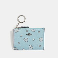Image of Coach Australia SV/LIGHT TURQ WESTERN HEART MINI SKINNY ID CASE WITH WESTERN HEART PRINT