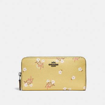 Image of Coach Australia  ACCORDION ZIP WALLET WITH FLORAL BOW PRINT