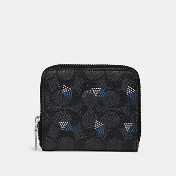Image of Coach Australia  SMALL ZIP AROUND WALLET IN SIGNATURE CANVAS WITH DOT DIAMOND PRINT