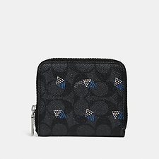 Image of Coach Australia CHARCOAL SMALL ZIP AROUND WALLET IN SIGNATURE CANVAS WITH DOT DIAMOND PRINT