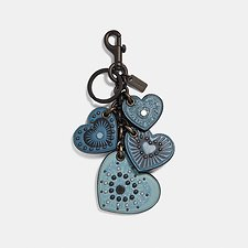 Image of Coach Australia BK/CHAMBRAY HEART MIX BAG CHARM