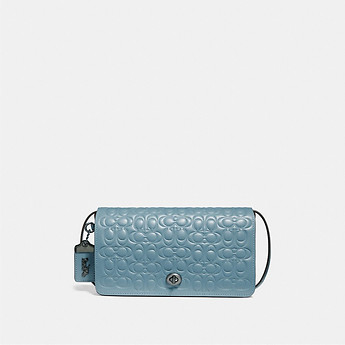 Image of Coach Australia  DINKY IN SIGNATURE LEATHER WITH FLORAL BOW INTERIOR