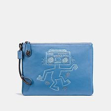 Image of Coach Australia BP/SKY BLUE COACH X KEITH HARING TURNLOCK WRISTLET 30