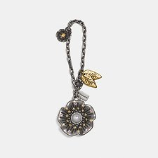 Image of Coach Australia SV/SILVER STUDDED TEA ROSE BAG CHARM