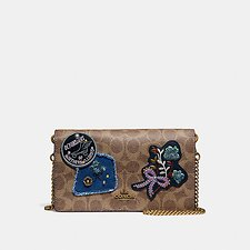 Image of Coach Australia B4/RUST FOLDOVER CHAIN CLUTCH IN SIGNATURE CANVAS WITH PATCHWORK