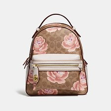Image of Coach Australia B4/TAN CHALK CAMPUS BACKPACK 23 IN SIGNATURE ROSE PRINT