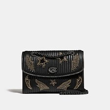 Image of Coach Australia DK/BLACK PARKER WITH QUILTING AND CRYSTAL EMBELLISHMENT