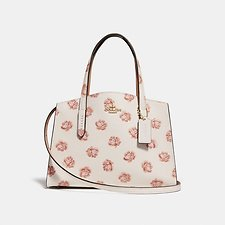 Image of Coach Australia LI/CHALK CHARLIE CARRYALL 28 WITH ROSE PRINT