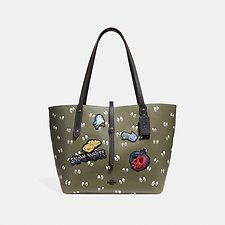 Image of Coach Australia BP/ARMY GREEN DISNEY X COACH MARKET TOTE WITH SPOOKY EYES PRINT
