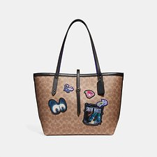 Image of Coach Australia BP/TAN BLACK DISNEY X COACH MARKET TOTE IN SIGNATURE PATCHWORK