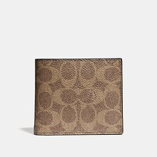 Image of Coach Australia KHAKI 3-IN-1 WALLET IN SIGNATURE CANVAS