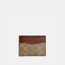 Image of Coach Australia B4/TAN RUST CARD CASE IN COLORBLOCK SIGNATURE CANVAS