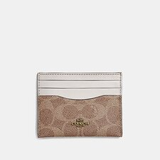 Image of Coach Australia B4/TAN CHALK CARD CASE IN COLORBLOCK SIGNATURE CANVAS