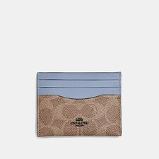 Image of Coach Australia TAN MIST CARD CASE IN COLORBLOCK SIGNATURE CANVAS