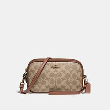 Image of Coach Australia B4/TAN RUST CROSSBODY CLUTCH IN COLORBLOCK SIGNATURE CANVAS