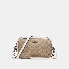 Image of Coach Australia B4/TAN CHALK CROSSBODY CLUTCH IN COLORBLOCK SIGNATURE CANVAS