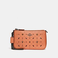 Image of Coach Australia DK/DARK BLUSH NOLITA WRISTLET 19 WITH PRAIRIE RIVETS DETAIL