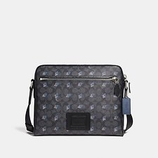 Image of Coach Australia LH/CHARCOAL METROPOLITAN CAMERA BAG IN SIGNATURE CANVAS WITH DOT DIAMOND PRINT