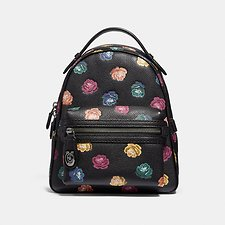Image of Coach Australia DK/BLACK MULTI CAMPUS BACKPACK 23 WITH RAINBOW ROSE PRINT