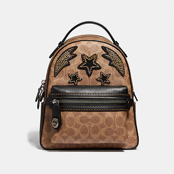Image of Coach Australia  CAMPUS BACKPACK 23 IN SIGNATURE CANVAS WITH RAINBOW CRYSTAL EMBELLISHMENT