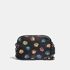 Image of Coach Australia DK/BLACK MULTI CAMERA BAG WITH EMBELLISHED RAINBOW ROSE PRINT