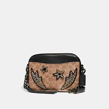 Image of Coach Australia BP/TAN BLACK MULTI CAMERA BAG IN SIGNATURE CANVAS WITH RAINBOW CRYSTAL EMBELLISHMENTS