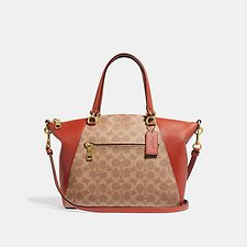 Image of Coach Australia B4/TAN RUST PRAIRIE SATCHEL IN SIGNATURE CANVAS