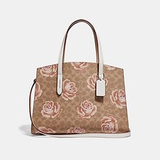 Image of Coach Australia B4/TAN CHALK CHARLIE CARRYALL IN SIGNATURE ROSE PRINT