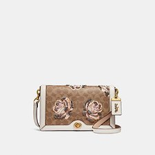 Image of Coach Australia B4/CHALK RILEY CROSSBODY IN EMBELLISHED SIGNATURE ROSE PRINT