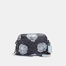 Image of Coach Australia DK/CHARCOAL SKY CAMERA BAG IN SIGNATURE ROSE PRINT