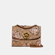 Image of Coach Australia B4/TAN CHALK PARKER 18 IN EMBELLISHED SIGNATURE ROSE PRINT