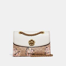 Image of Coach Australia B4/TAN CHALK PARKER IN EMBELLISHED SIGNATURE ROSE PRINT